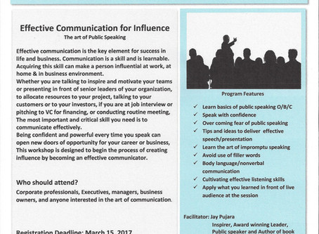 """Effective Communication for Influence """"The art of Public Speaking"""" 