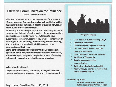 """Effective Communication for Influence """"The art of Public Speaking""""   March 16, 2017"""