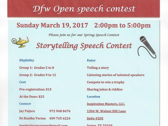 Storytelling Speech Contest | March 19, 2017