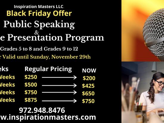 Public Speaking and Online Presentation Program (Grades 5 to 12) Black Friday Offer