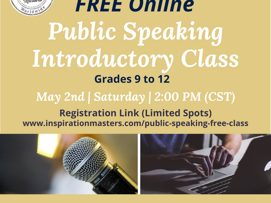 FREE Online Public Speaking Introductory Class (Grades 9 to 12)