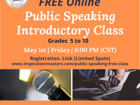 FREE Online Public Speaking Introductory Class For Grades 5 to 10