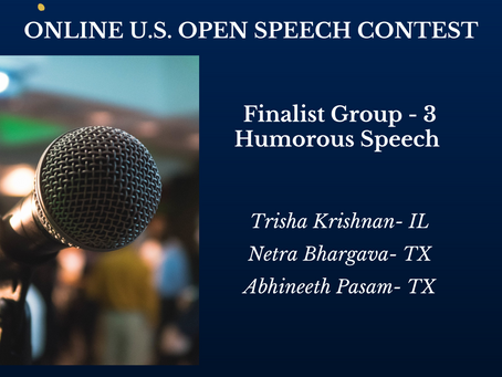 Congratulations to the finalists of Online U.S. Open Speech Contest-Group-3-Humorous Speech