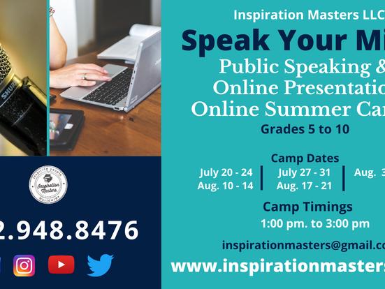 Speak Your Mind Public Speaking & Online Presentation Summer Camps