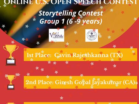Congratulations Winners! Online U.S. Open Speech Contest-May 2020