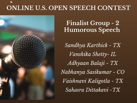 Congratulations to the finalists of Online U.S. Open Speech Contest-Group-2-Humorous Speech