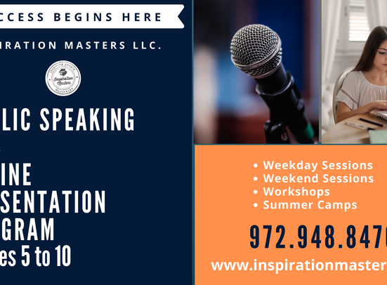 Public Speaking and Online Presentation Program (Grades 5 to 10)