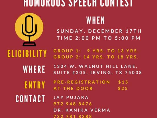 DFW Open Speech Contest Presents HUMOROUS SPEECH CONTEST