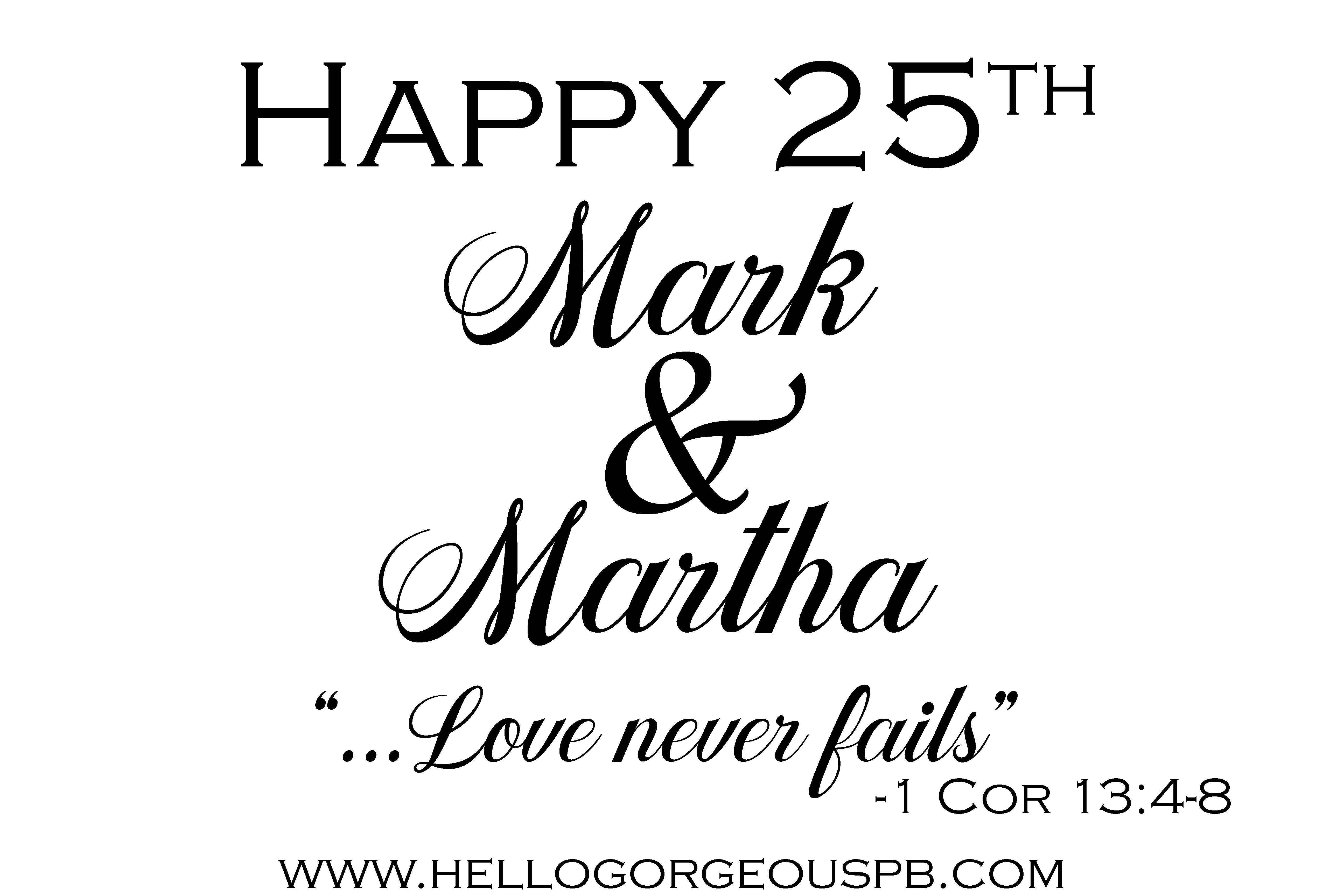 Mark and Martha's 25th