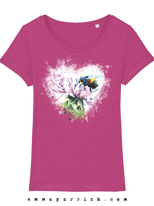 Organic Womens T Shirt - Bee Heart by Emma Parrish