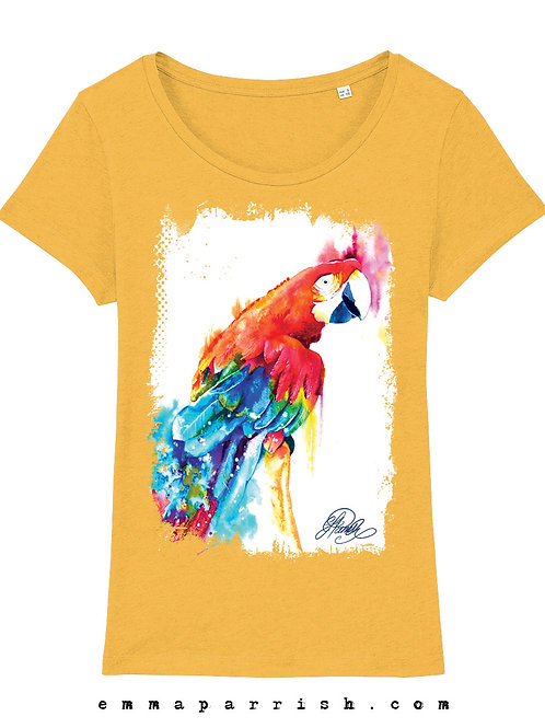 "Organic Womens T Shirt -  Parrot ""Mojo"" by Emma Parrish"