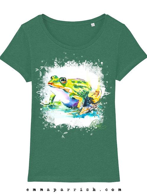 Organic Womens T Shirt -  Frog by Emma Parrish