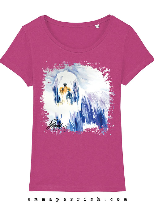 Organic Womens T Shirt - Bearded Collie Standing by Emma Parrish