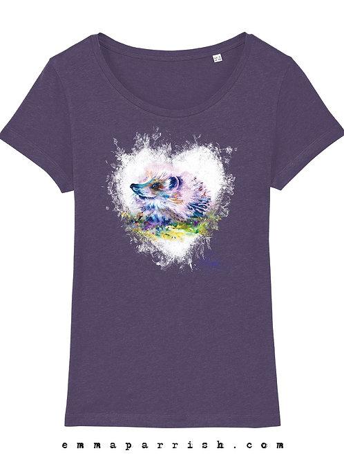 Organic Womens T Shirt -  Hedgehog by Emma Parrish