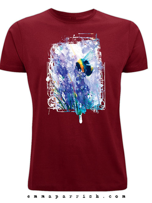Organic Mens/ Unisex T Shirt -Bee on Blossom by Emma Parrish