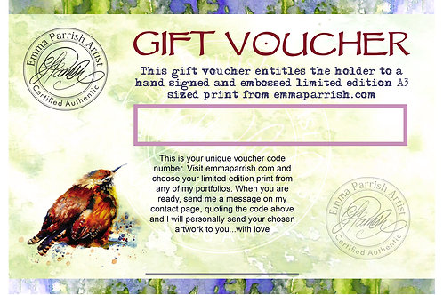 Gift Voucher for Print Size A3  (297 x 420mm)