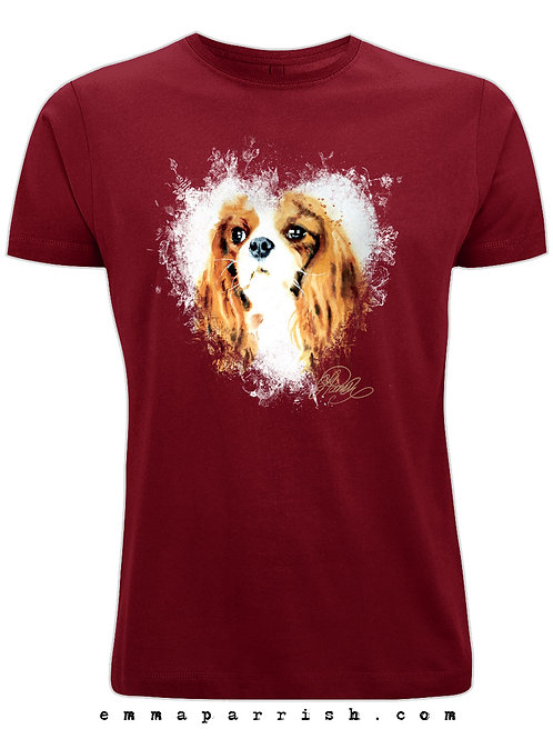 Organic Mens/ Unisex T Shirt - King Charles Spaniel by Emma Parrish