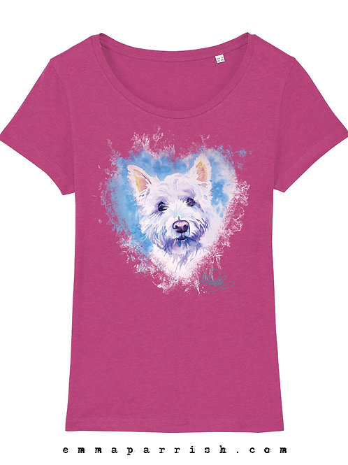 Organic Womens T Shirt - Westie by Emma Parrish