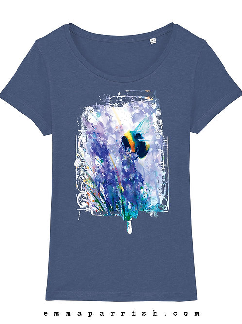 Organic Womens T Shirt - Bee on Blossom by Emma Parrish
