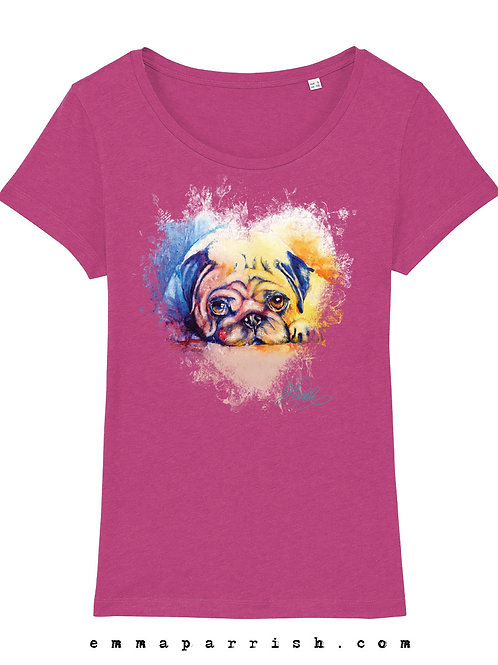 Organic Womens T Shirt - Pug by Emma Parrish