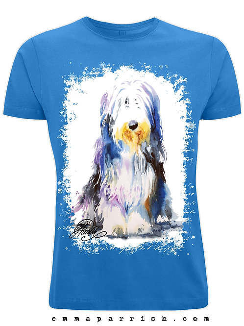 Organic Mens/ Unisex T Shirt - Bearded Collie by Emma Parrish