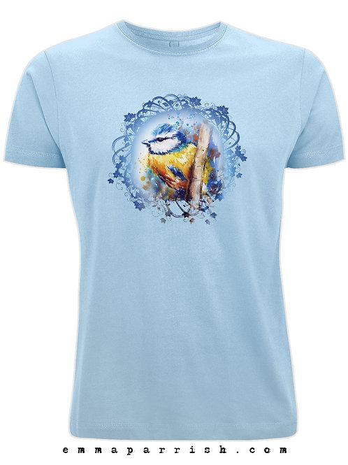 Organic Mens/ Unisex T Shirt - Blue Tit by Emma Parrish