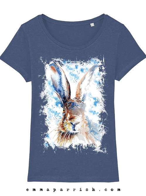 Organic Womens T Shirt - Barley Hare by Emma Parrish