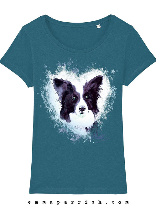 Organic Womens T Shirt - Border Collie by Emma Parrish