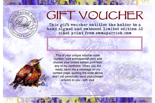 Gift Voucher for Print Size A2  (420  x 594mm)