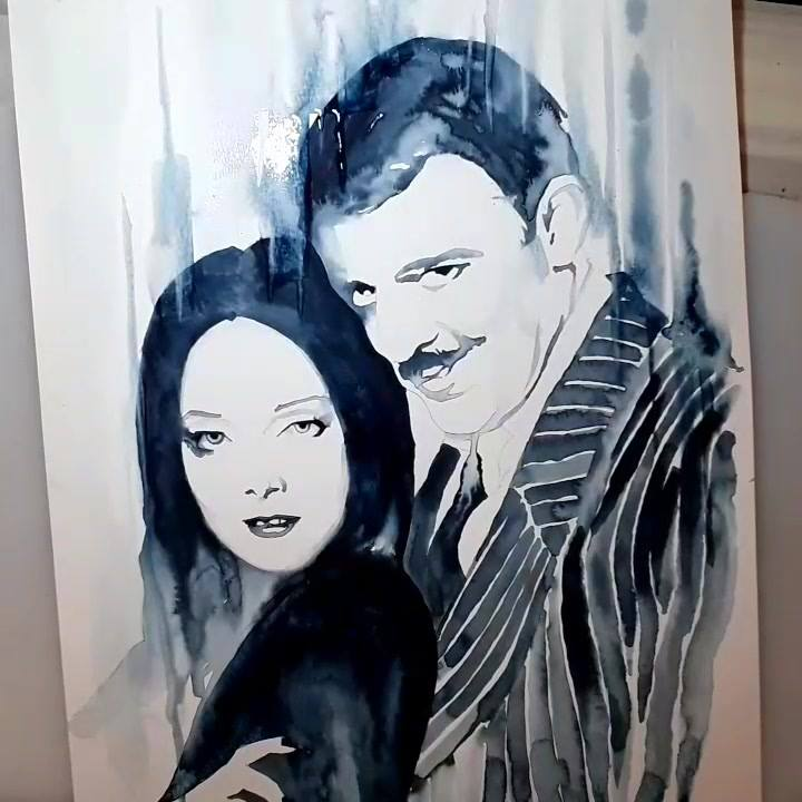 Morticia & Gomez Addams - Speed Painting by Emma Parrish