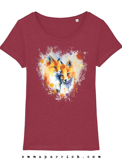 Organic Womens T Shirt - Fox Cubs by Emma Parrish