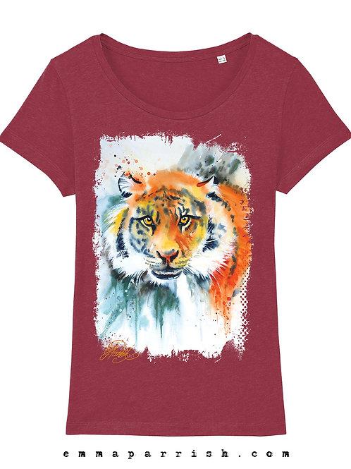 "Organic Womens T Shirt -  Tiger ""Khan"" by Emma Parrish"
