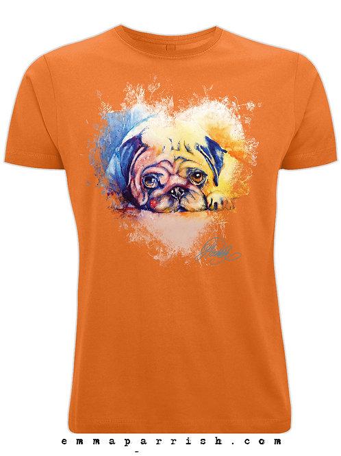 Organic Mens/ Unisex T Shirt - Pug by Emma Parrish