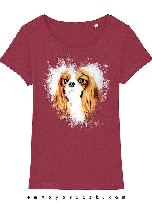 Organic Womens T Shirt -  King Charles Spaniel by Emma Parrish