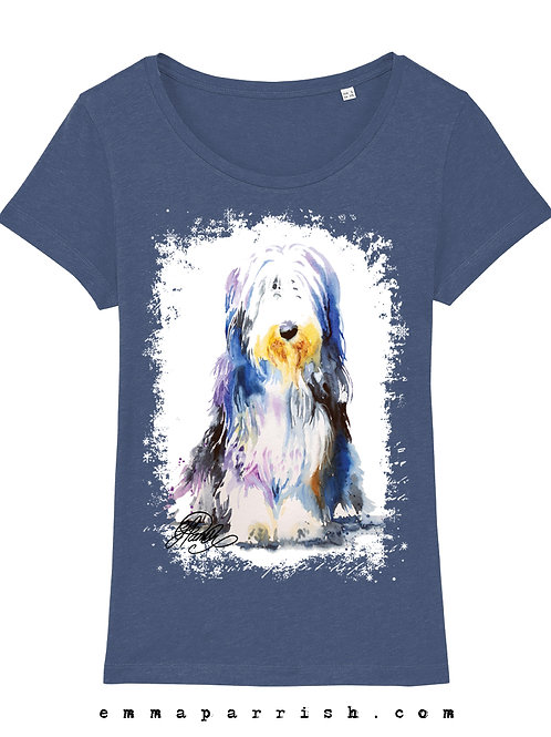 Organic Womens T Shirt - Bearded Collie by Emma Parrish