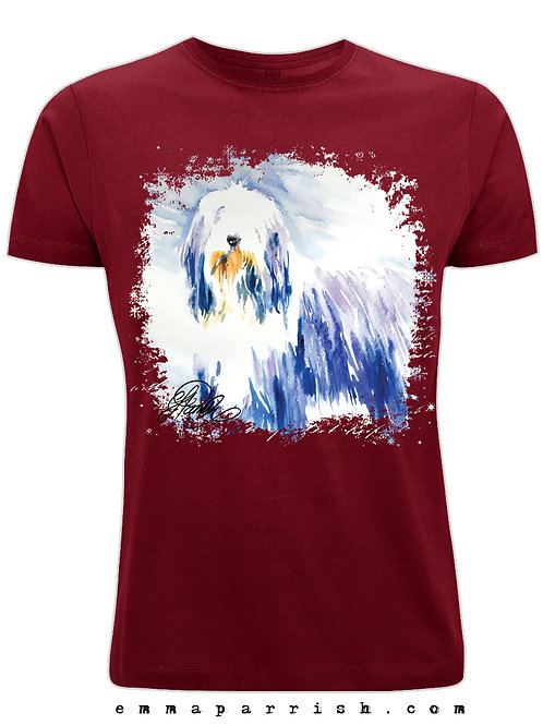 Organic Mens/ Unisex T Shirt - Bearded Collie Standing by Emma Parrish