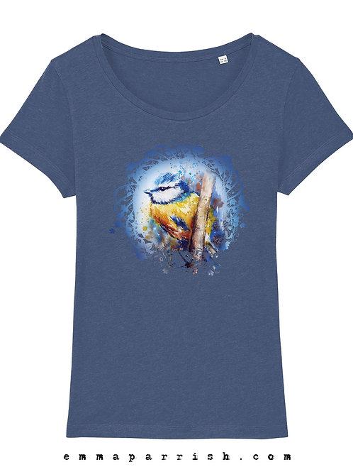 Organic Womens T Shirt - Blue Tit by Emma Parrish