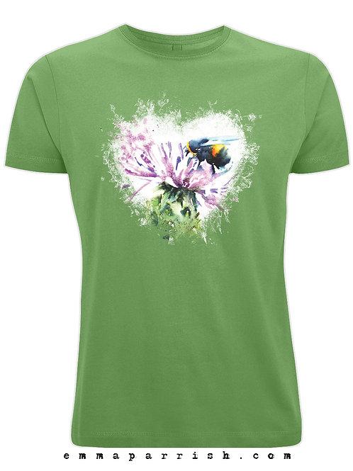 Organic Mens/ Unisex T Shirt - Bee Heart by Emma Parrish