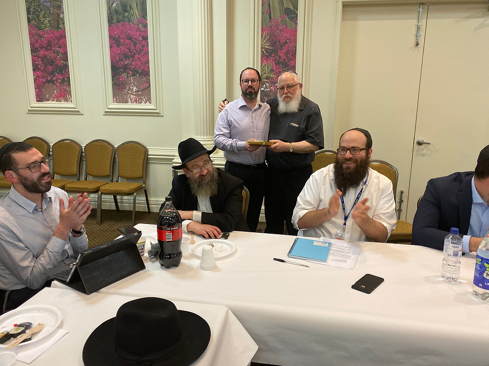 Rabbi Philip Heilbrunn OAM, RCV President, presented Rabbi Andrew Saffer with a book by Rabbi Jonathan Sacks on Leadership, as thanks for his tireless work on the 2018 and 2019 RCV committee.