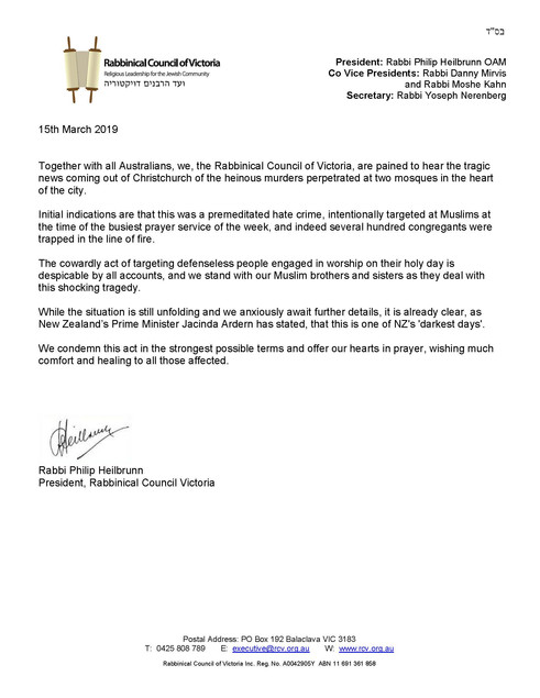 Message from RCV President regarding the Christchurch Tragedy