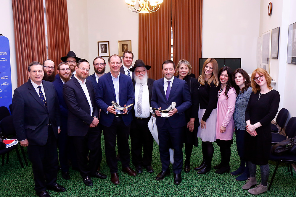 The RCV committee Rabbis and Rebbetzins with the Hon. Mathew Guy MP and Mr David Southwick MP.