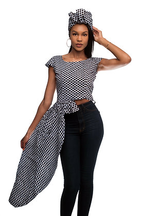 Checked Asymmetric Blouse