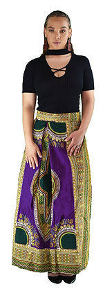 Purple and Green Bhatik Maxi Skirt