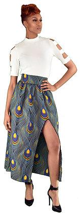 Peacock Side Slit Maxi Skirt