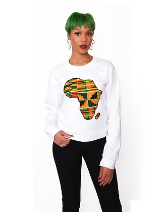 White Africa Map Kente Sweatshirt