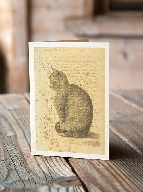 Vintage Cat Collage Print-No.22347-Blank Note Card