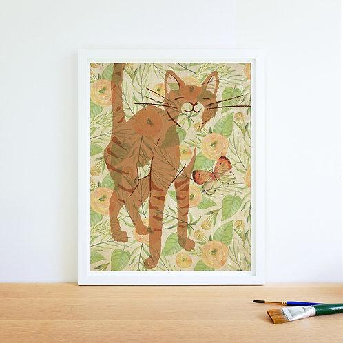 Cat Watercolor Collage Print-No.66346