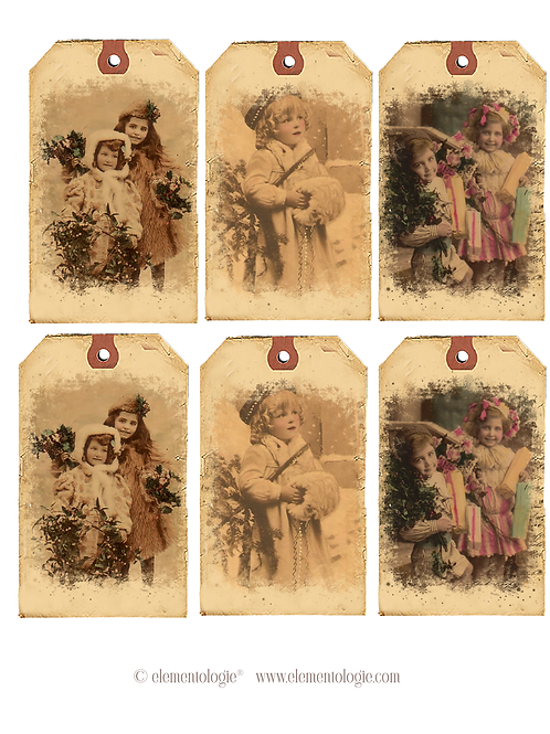 Vintage Holiday French Gift Tags- No 20067-Digital Download