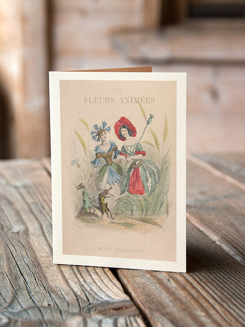 Les Fleurs Animees Collage Print- blueberry and poppy-No.049-Blank Note Card