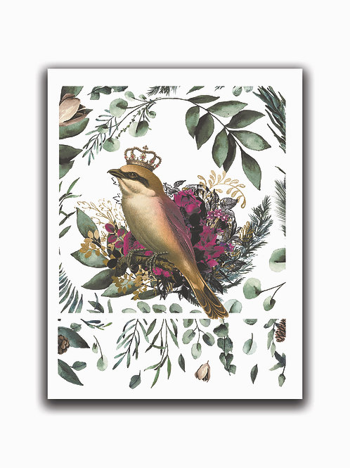 Crowned Bird Collage Print No. 00987-Blank Note Card